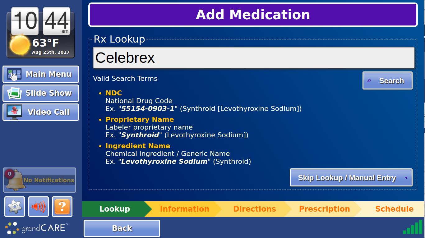 Medication Lookup Screen